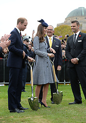 Prince William and Catherine Duchess of Cambridge plant an Aleppo pine tree at the Australian War Memorial on Anzac Day<br /> Prince William and Catherine Duchess of Cambridge visit Canberra, Australia - 25 Apr 2014 Picture by i-Images