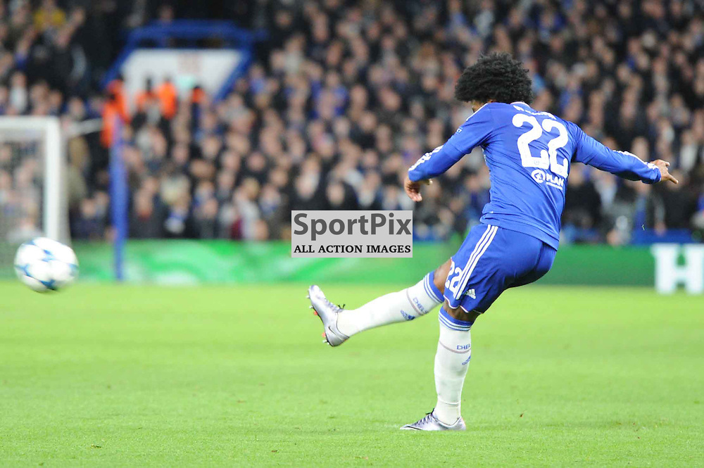 Chelseas Willian takes a free kick during the Chelsea v FC Porto Champions League match in the group stage on the 9th December 2015.