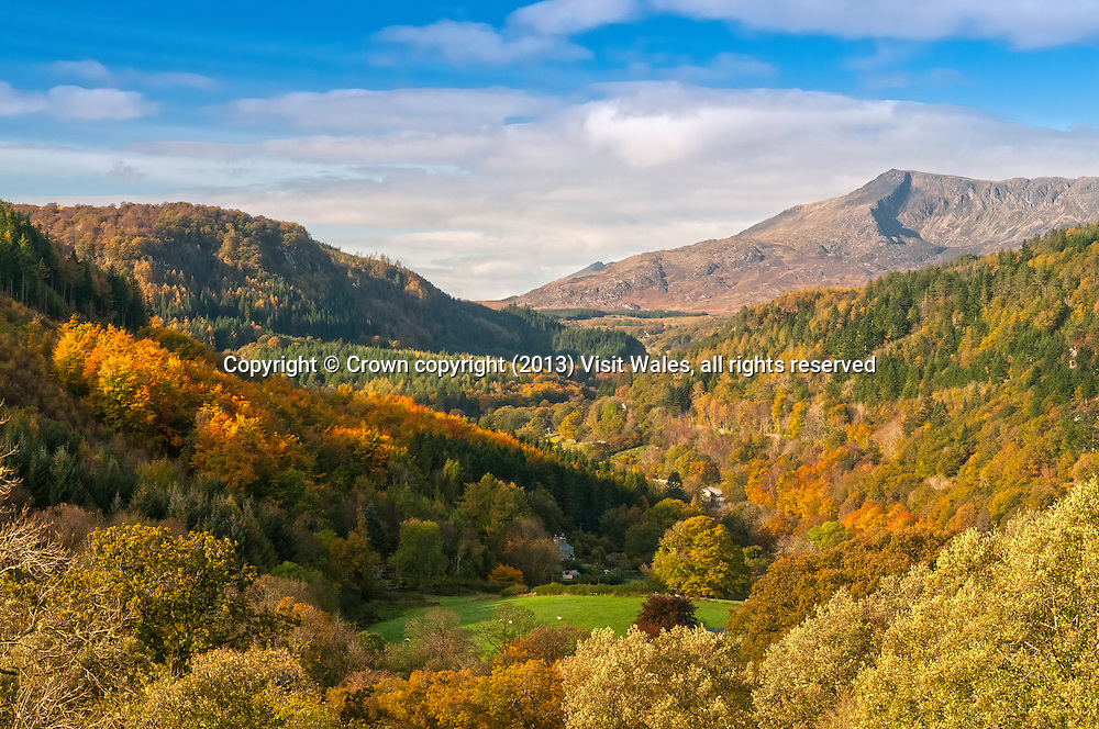 Moel Siabod and Lledr valley in autumn<br /> Near Betws-y-Coed<br /> Conwy County <br /> Snowdonia<br /> North<br /> Scenery
