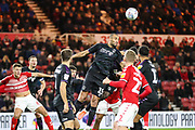 Charlton Athletic midfielder Darren Pratley (15) heads the ball clear at the near post during the EFL Sky Bet Championship match between Middlesbrough and Charlton Athletic at the Riverside Stadium, Middlesbrough, England on 7 December 2019.