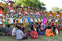 SAGAING, MYANMAR - NOVEMBER 27, 2016 :people gathering in tradional costtumes for a donation  festival in Sagaing  Myanmar (Burma)