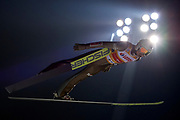 Poland, Wisla Malinka - 2017 November 18: Kamil Stoch from Poland soars through the air during FIS Ski Jumping World Cup Wisla 2017/2018 - Day 2 at jumping hill of Adam Malysz on November 18, 2017 in Wisla Malinka, Poland.<br /> <br /> Mandatory credit:<br /> Photo by &copy; Adam Nurkiewicz<br /> <br /> Adam Nurkiewicz declares that he has no rights to the image of people at the photographs of his authorship.<br /> <br /> Picture also available in RAW (NEF) or TIFF format on special request.<br /> <br /> Any editorial, commercial or promotional use requires written permission from the author of image.