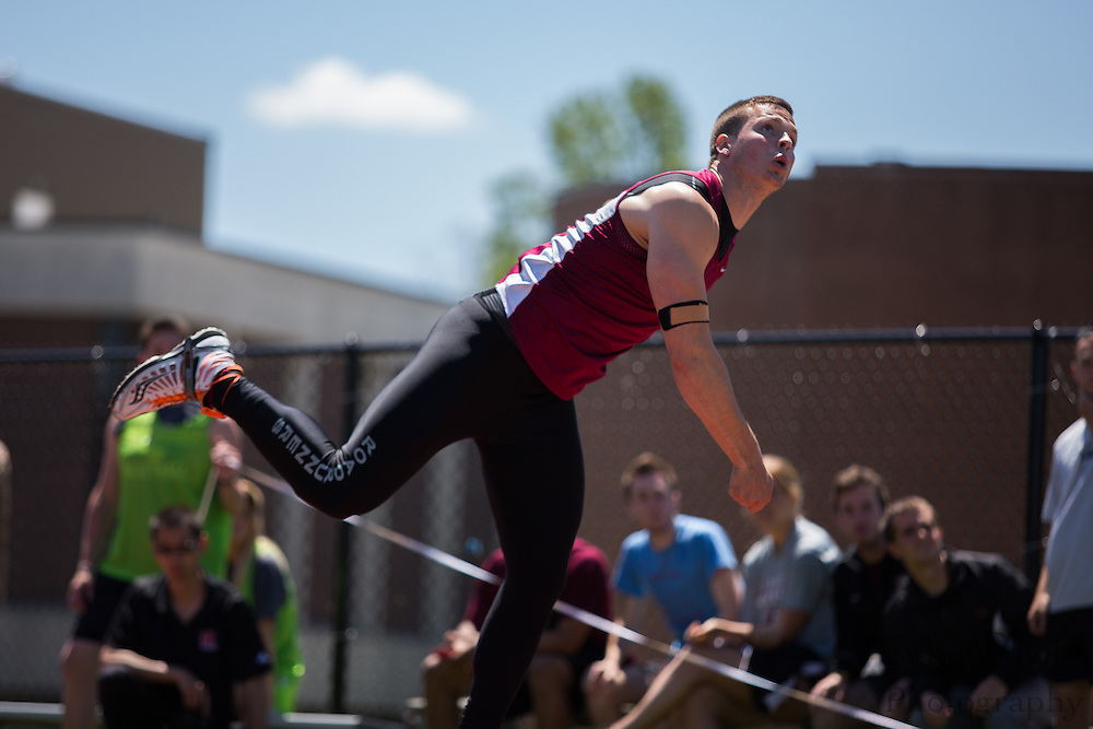 Ramapo College's Dillon Rodgers competes in the men's javelin  at the NJAC Track and Field Championships at Richard Wacker Stadium on the campus of  Rowan University  in Glassboro, NJ on Sunday May 5, 2013. (photo / Mat Boyle)