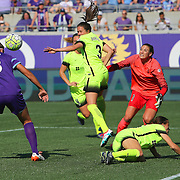 Orlando Pride forward Sarah Hagen (8) heads the ball in for a goal during a NWSL soccer match against Seattle Reign SC at Camping World Stadium on May 8, 2016 in Orlando, Florida. (Alex Menendez via AP)