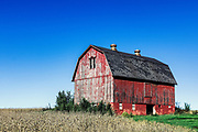 Scenic red barn and farmland, Scottsville, New York, USA.