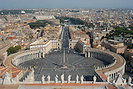 A view of the Vatican City, and Rome, Italy, in the background, from atop St. Peter's Basilica. (Photo by Phelan M. Ebenhack)