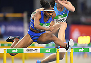 Christina Manning (USA) places second in the women's 60m hurdles in 7.81 in the 34th Indoor Meeting Karlsruhen in an IAAF World Tour competition at the Messe Karlsruhe on Saturday, Feb. 3, 2018 in Karlsruhe, Germany. (Jiro Mochizuki/Image of Sport)