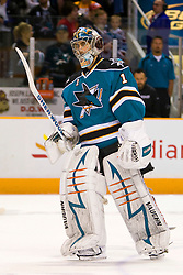 May 2, 2010; San Jose, CA, USA;  San Jose Sharks goalie Thomas Greiss (1) before game two of the western conference semifinals of the 2010 Stanley Cup Playoffs against the Detroit Red Wings at HP Pavilion.  San Jose defeated Detroit 4-3. Mandatory Credit: Jason O. Watson / US PRESSWIRE