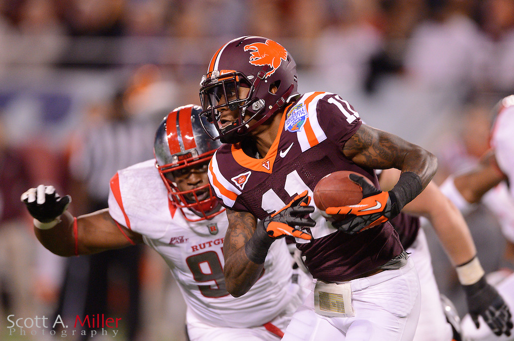 Virginia Tech Hokies wide receiver Dyrell Roberts (11) runs upfield against the Rutgers Scarlet Knights in the Russell Athletic Bowl on Dec 28, 2012 in Orlando, Florida. ...©2012 Scott A. Miller..
