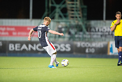 Falkirk's Craig Sibbald scoring the winning penalty.<br /> Full time : Falkirk 0 v 0 Cowdenbeath, Falkirk win on penalties after extra time, second round League Cup tie played at The Falkirk Stadium.
