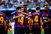 Malcom Filipe from Brasil celebrating his goal with Philippe Coutinho from Brasil during the Joan Gamper trophy game between FC Barcelona and CA Boca Juniors in Camp Nou Stadium at Barcelona, on 15 of August of 2018, Spain, Photo Xavier Bonilla / SpainProSportsImages / DPPI / ProSportsImages / DPPI