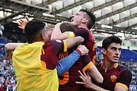 Esultanza Gol Edin dzeko Roma con Alessandro Florenzi e Diego Perotti Goal celebration 0-2 <br /> Roma 03-04-2016 Stadio Olimpico Football Calcio Serie A 2015/2016 Lazio - AS Roma Foto Andrea Staccioli / Insidefoto