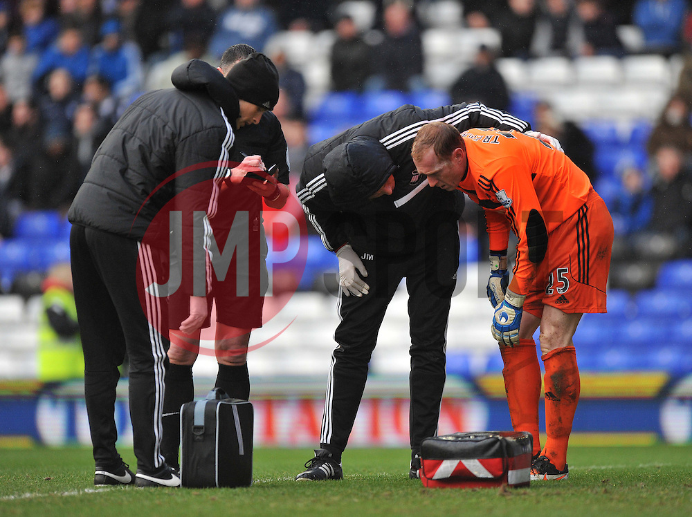 Swansea City's Gerhard Tremmel received treatment - Photo mandatory by-line: Alex James/JMP - Tel: Mobile: 07966 386802 25/01/2014 - SPORT - FOOTBALL - St Andrew's - Birmingham - Birmingham City v Swansea City - FA Cup - Forth Round
