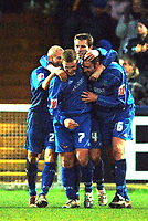 Photo: Paul Greenwood.<br />Macclesfield Town v Hereford United. Coca Cola League 2. 20/01/2007. Macclesfield's John Murphy, right is congatulated by team mates after sealing all three points.