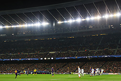 A general view as Lionel Messi of Barcelona takes a free kick under the floodlights of the Camp Nou Stadium - Mandatory by-line: Matt McNulty/JMP - 14/03/2018 - FOOTBALL - Camp Nou - Barcelona, Catalonia - Barcelona v Chelsea - UEFA Champions League - Round of 16 Second Leg