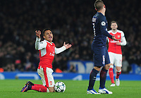 Football - 2016 / 2017 UEFA Champions League - Group A: Arsenal vs. Paris Saint-Germain<br /> <br /> Alexis Sanchez of Arsenal complains after being fouled by Marco Verratti of PSG  at The Emirates.<br /> <br /> COLORSPORT/ANDREW COWIE