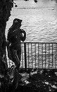 Henley On Thames. Oxfordshire/ Berkshire. United Kingdom. 26/17.05.2017. General View, River Thames. <br /> <br /> Bronze, two metre-high &quot;Ama of the Thames&quot; standing in the &quot;Red Lion Hotel&quot; Lawn next to Henley Bridge in Oxfordshire. <br /> <br /> [Mandatory Credit Peter SPURRIER/Intersport Images]
