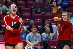 BLOOMINGTON, IL - September 14: Monica Miller and Stef Jankiewicz during a college Women's volleyball match between the ISU Redbirds and the University of Central Florida (UCF) Knights on September 14 2019 at Illinois State University in Normal, IL. (Photo by Alan Look)