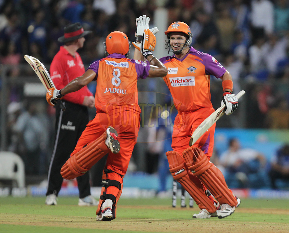 Team Kochi Tuskers Kerala players celebrate during match 13 of the the Indian Premier League ( IPL ) Season 4 between the Mumbai Indians and the Kochi Tuskers Kerala held at the Wankhede Stadium, Mumbai, India on the 15th April 2011..Photo by BCCI/SPORTZPICS.