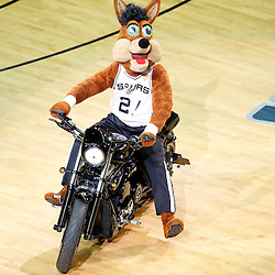 Jun 16, 2013; San Antonio, TX, USA; The San Antonio Spurs mascot rides a motorcycle during a timeout in the first quarter of game five in the 2013 NBA Finals against the Miami Heat at the AT&T Center. Mandatory Credit: Derick E. Hingle-USA TODAY Sports
