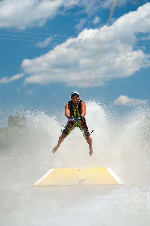 Garth Strydom during the jump event at the Free State Interprovincial barefoot skiing competition, South Africa.