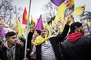 Frankfurt | 18 March 2017<br /> <br /> Am Samstag (18.02.2017) feierten &uuml;ber 30000 Kurden im Rahmen einer Demonstration das kurdische Neujahrsfest Newroz, bei der Demo sprachen sie sich gegen eine Diktatur und f&uuml;r die Freilassung von PKK-F&uuml;hrer Abdullah &Ouml;calan aus.<br /> Hier: Demonstranten in Feierlaune unter Fahnen mit einem Bild von &Ouml;calan.<br /> <br /> photo &copy; peter-juelich.com<br /> <br /> Nutzung honorarpflichtig!