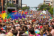 Gay Pride Parade in Salt Lake City Utah. Crowd of Parade attendees.