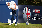 Lee Westwood  of England tees off during the British Masters 2018 at Walton Heath Golf Course, Walton On the Hill, Surrey on 12 October 2018. Picture by Martin Cole.