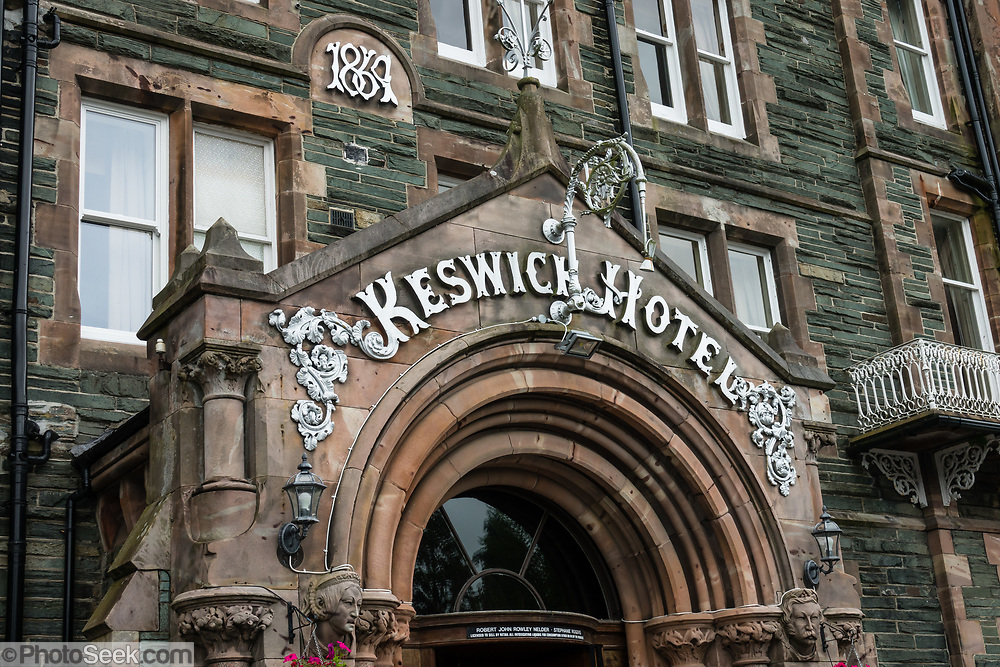 The elegant Keswick Country House Hotel (built in 1869) is in Lake District National Park, Cumbria county, England, UK, Europe. England Coast to Coast hike with Wilderness Travel, day 3 of 14. [This image, commissioned by Wilderness Travel, is not available to any other agency providing group travel in the UK, but may otherwise be licensable from Tom Dempsey – please inquire at PhotoSeek.com.]