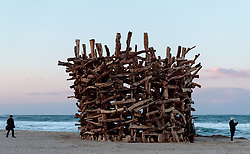 08-02-2018 KOR: Olympic Games day -1, Pyeongchang<br /> Sculpture at the beach during a preliminary reports ahead of the opening of the Pyeongchang 2018 Winter Olympic Games in Gangneung , South Korea on 2018/02/05<br /> <br /> *** USE NETHERLANDS ONLY ***