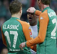 Fotball, 31. januar 2004, Bundesliga, 1:0 Jubel v.l. Ivan Klasnic, Torsch Ütze Ailton, Tim Borowski Bremen<br /> Bundesliga SV Werder Bremen - Hertha BSC