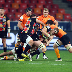 PORT ELIZABETH, SOUTH AFRICA - MAY 27: Steven Sykes (captain) of the Southern Kings on attack during the Super Rugby match between Southern Kings and Jaguares at Nelson Mandela Bay Stadium on May 27, 2016 in Port Elizabeth, South Africa. (Photo by Steve Haag/Gallo Images)