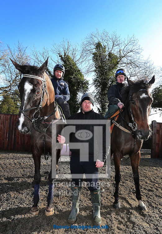 Gordon Elliott with Simon McGonigle on Don Cossack and Joey Elliott on Clarcam pictured during a yard visit at Cullentra House Stables, Longwood<br /> Picture by Lorraine O'Sullivan/Focus Images Ltd +353 872341584<br /> 04/03/2015