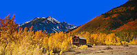 Lone Building and Fall Colors at Ashcroft Ghost Town in Colorado. Composite of 15 images taken with a Nikon D3x camera and 85 mm f/2.8 PC-E lens (ISO 100, 85 mm, f/16) combined with Google/NIK HDR Efex Pro and AutoPano Giga Pro 2. Additional processing with Capture One Pro 7 and Adobe PhotoShop CC. Rocky Mountain Photo Safari with Jason Odell.