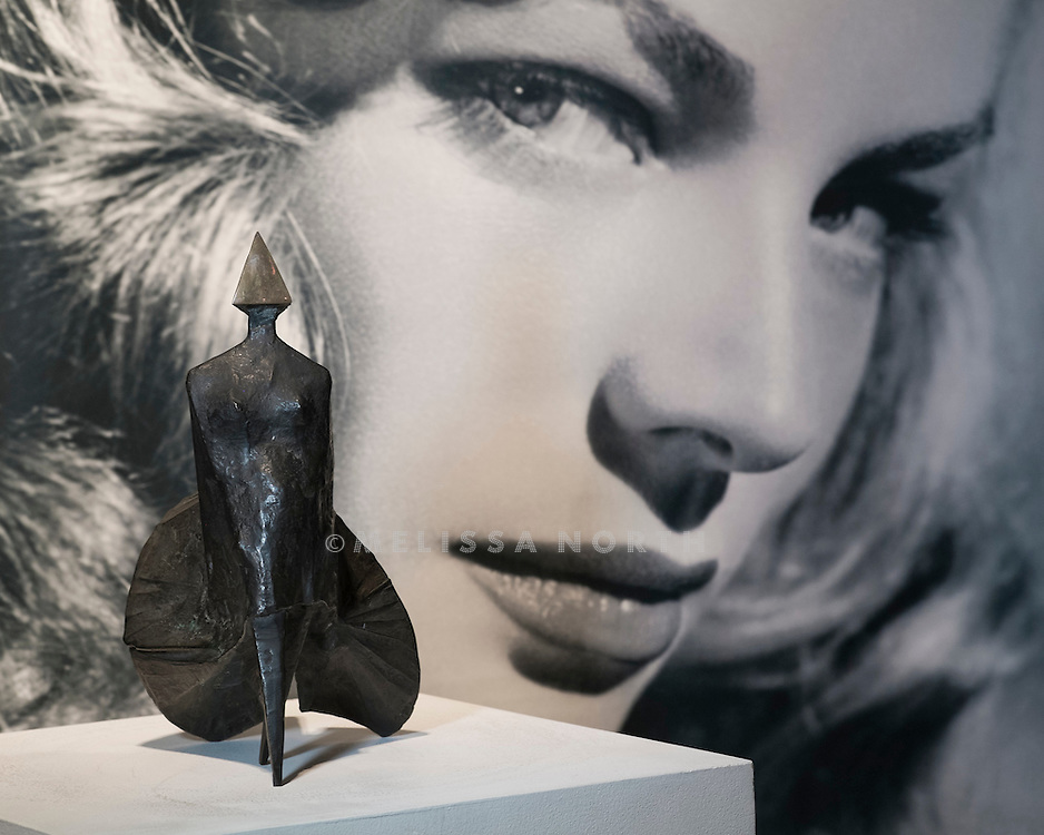 Lynn Chadwick - Maquette II Walking Woman height 12in, est £9,800 - 13,000, at a preview of the auction highlights from the Estate of Lauren Bacall, at Bonhams, London, UK on 13th February 2015. The preview of 50 selected lots features works by Henry Moore, David Hockney, Robert Graham, Noel Coward and Jim Dine - and is due to be auctioned at Bonhams New York on 31 March and 1 April 2015.