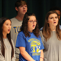 The National Anthem is performed by THS MadJazz, during the district's back to school convocation Friday morning at the Performing Arts Center at Tupelo High School. Tupelo Public Schools welcome students back on Wednesday August 8.