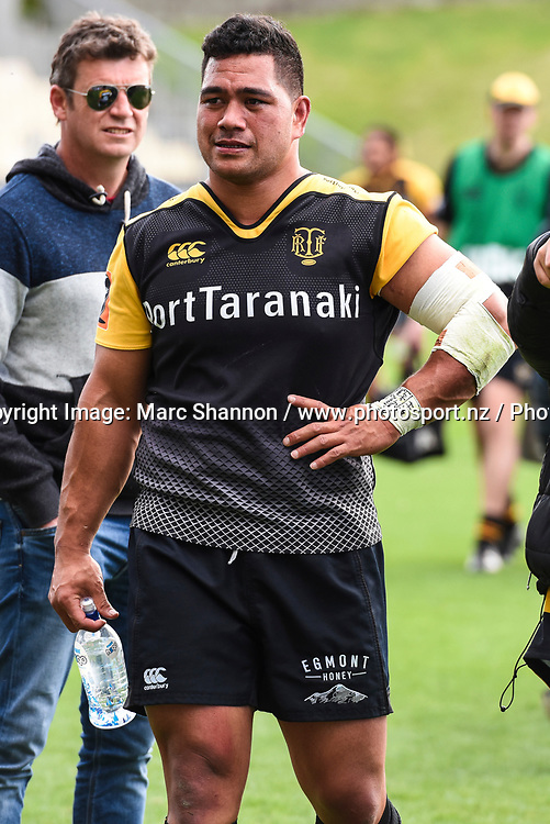 Taranaki Sione Lea after his teams loss against North Harbour.<br /> North Harbour v Taranaki, Mitre 10 Cup Rugby, QBE Stadium, Auckland, New Zealand. 15 October 2017. &copy; Copyright Image: Marc Shannon / www.photosport.nz.