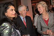 SMRUTI SRIRAM; LORD CHARLES POWELL; VIRGINIA BOTTOMLEY, The Veuve Clicquot Business Woman Award. Claridge's Ballroom. London W1. 11 May 2015.
