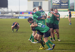 Final whistle Ballina's players celebrate at fulltime after their 20-15 Connacht junior Cup win over Westport at the Sportsground Galway. Pic Conor McKeown