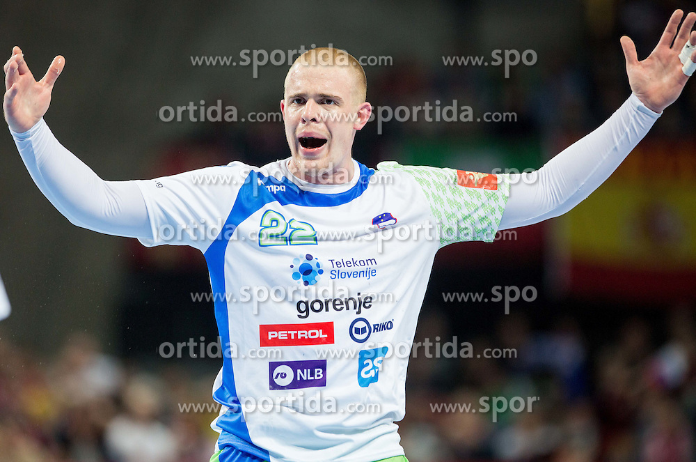 Matej Gaber of Slovenia reacts during handball match between National teams of Slovenia and Spain on Day 4 in Preliminary Round of Men's EHF EURO 2016, on January 18, 2016 in Centennial Hall, Wroclaw, Poland. Photo by Vid Ponikvar / Sportida