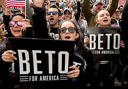 March 30, 2019 - El Paso, Texas, U.S. - Supporters cheer as Democratic candidate for president, BETO O'ROURKE, holds a kickoff rally in his hometown of El Paso.  It is the first of three such rallies held across the state today.(Credit Image: © Brian Cahn/ZUMA Wire)