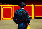 Medellin, Colombia, Colombian, Bullfight, Bullfighting, Matador Waiting For The Arrival Of A Bull, La Macarena Stadium, Arburra Valley, Antioquia