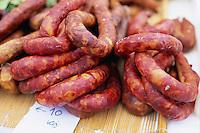 April 2003, Algarve, Portugal --- Chorizo Sausages for Sale --- Image by © Owen Franken/CORBIS