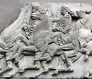 Detail from the Parthenon Frieze. Greek marble sculpture, made between 443-438 BC. The full frieze shows a narrative procession of men, women & horses.