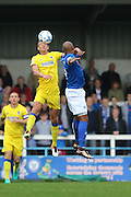 AFC Wimbledon defender Paul Robinson (6) out jumps Rochdale FC striker Calvin Andrew (9) during the EFL Sky Bet League 1 match between Rochdale and AFC Wimbledon at Spotland, Rochdale, England on 27 August 2016. Photo by Stuart Butcher.