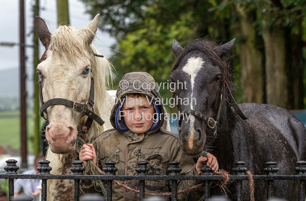 15/7/2012.Adam Watson aged 10 from Moate in Westmeath pictured at the Borris Horse Fair in County Carlow yesterday...Picture Dylan Vaughan