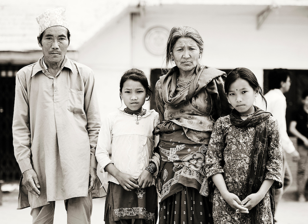 A Nepalese family in Durbar Square