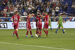 June 13, 2018 - Harrison, New Jersey, United States - Bradley Wright-Phillips (99) of Red Bulls celebrates scoring goal with team during regular MLS game against Seattle Sounders at Red Bull Arena Red Bulls won 2 -1  (Credit Image: © Lev Radin/Pacific Press via ZUMA Wire)