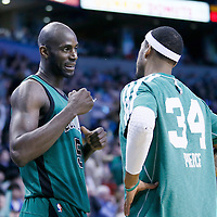 13 March 2013: Boston Celtics center Kevin Garnett (5) talks to Boston Celtics small forward Paul Pierce (34) during the Boston Celtics 112-88 victory over the Toronto Raptors at the TD Garden, Boston, Massachusetts, USA.
