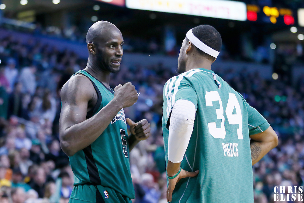 13 March 2013: Boston Celtics center Kevin Garnett (5) talks to Boston Celtics small forward Paul Pierce (34) during the Boston Celtics 112-88 victory over the Toronto Raptors at the TD Garden, Boston, Massachusetts, USA.